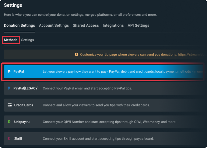 Streamlabs settings page